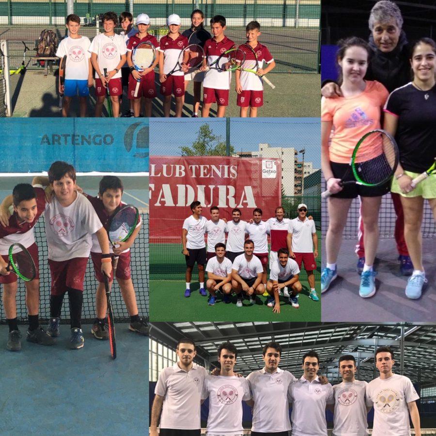 El Club de Tenis Fadura campeón Junior del Vasco Navarro Riojano Cantabro,Subcampeon en Veteranos + 45 y estamos  tambien en semifinales del cadete,infantil y alevín.